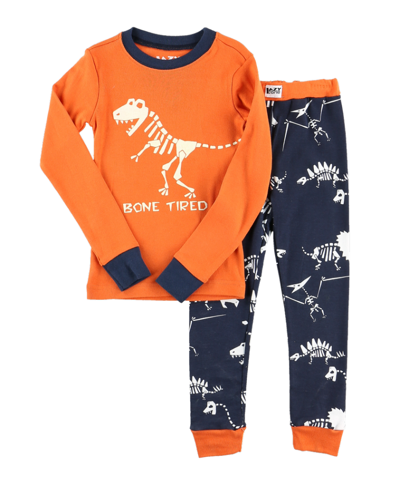Dino Bone Tired - Kids Long Sleeve PJ Set - Lazy One®
